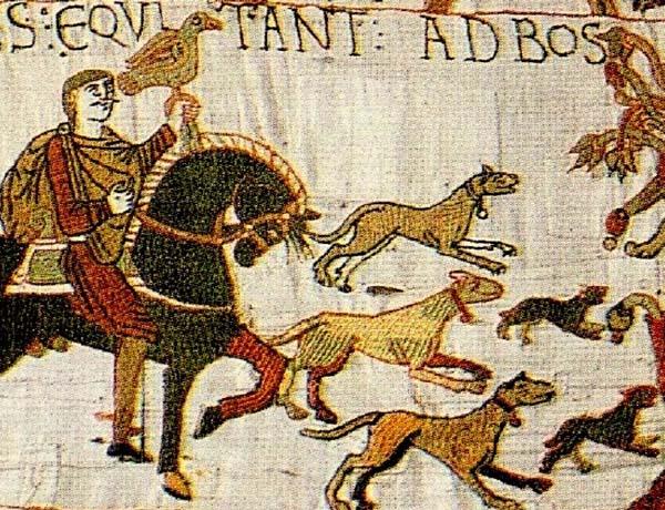 détail tapisserie de Bayeux chiens de chasse de fauconnier