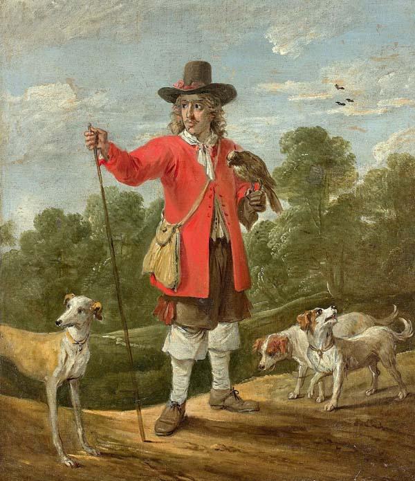 fauconnier et ses chiens sur une toile de David Teniers (1610-1690)
