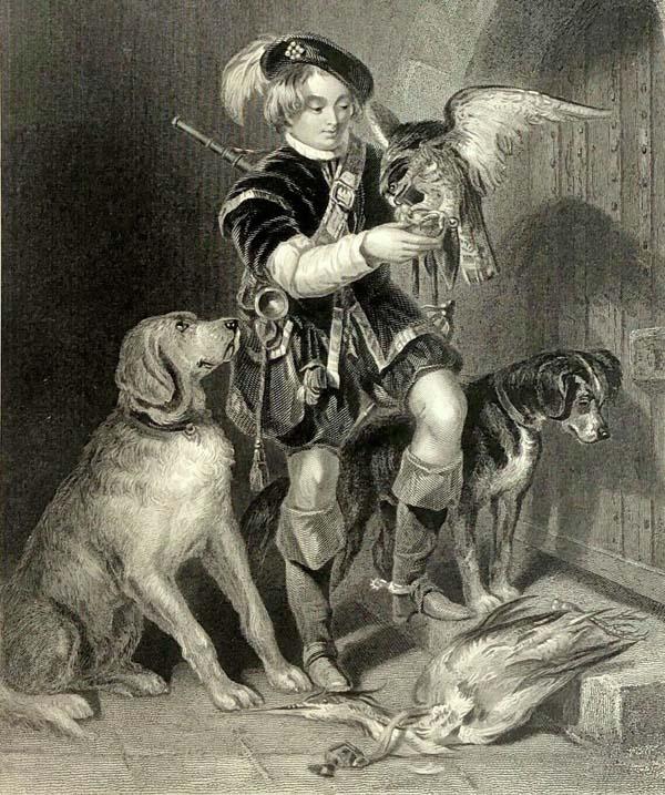 Le fauconnier, son oiseau et ses chiens après la prise d'un héron. Lithographie de John Frédérick-Tayler en 1863.